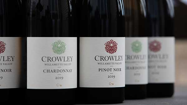 Bottles of Crowley wines lined up.
